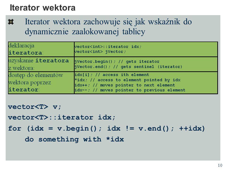 Iterator wektora Iterator wektora zachowuje się jak wskaźnik do dynamicznie zaalokowanej tablicy. vector<T> v;