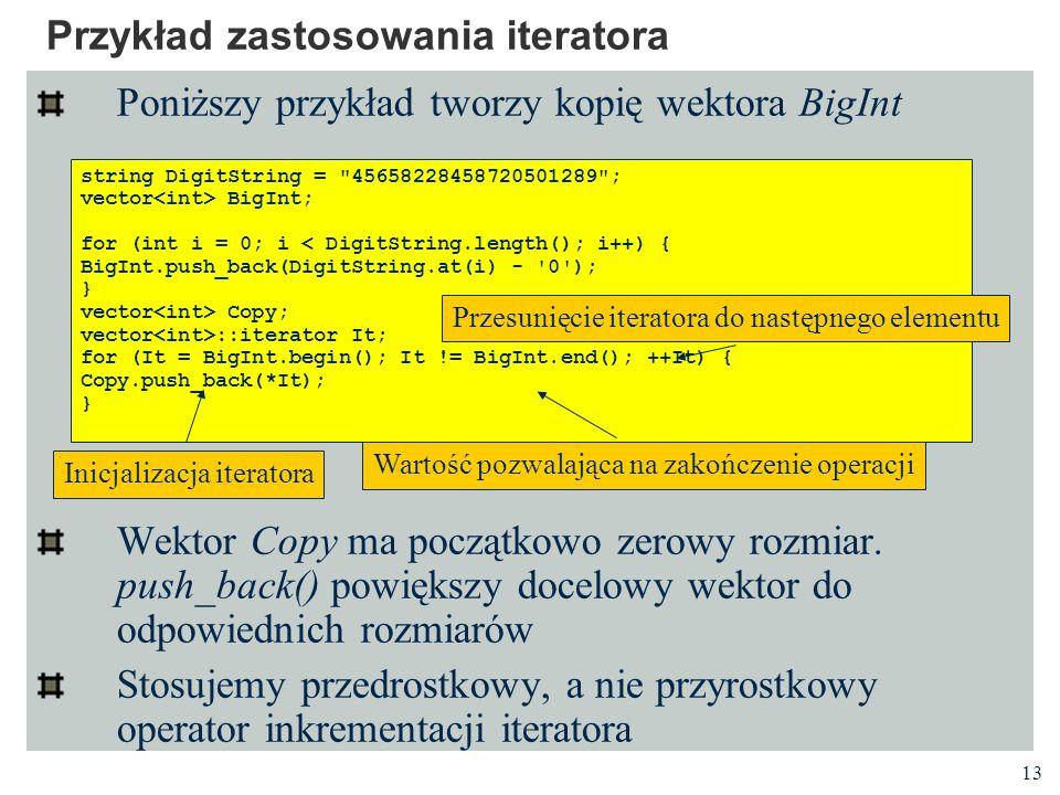 Przykład zastosowania iteratora