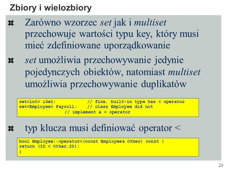 typ klucza musi definiować operator <