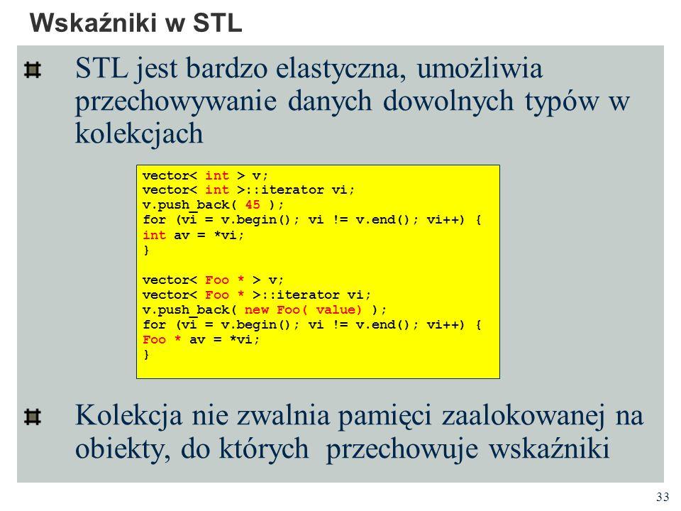 Wskaźniki w STL STL jest bardzo elastyczna, umożliwia przechowywanie danych dowolnych typów w kolekcjach.