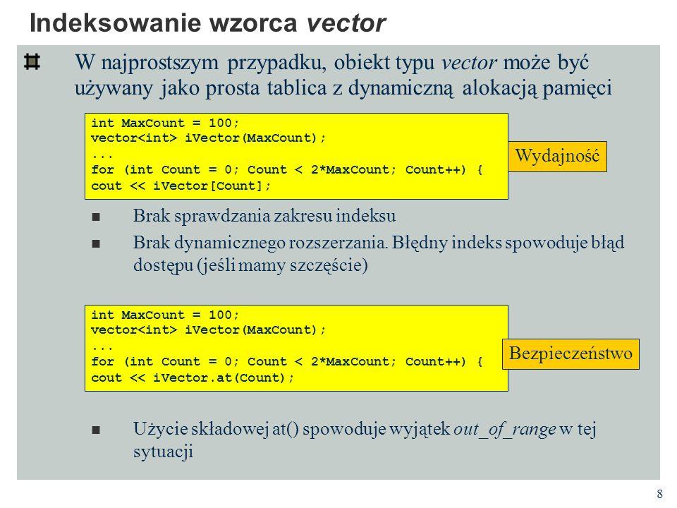 Indeksowanie wzorca vector
