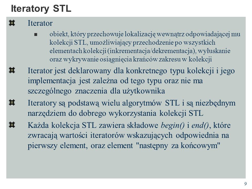 Iteratory STL Iterator