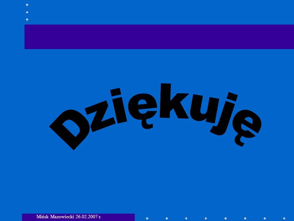 Dziękuję Mińsk Mazowiecki 26.02.2007 r.