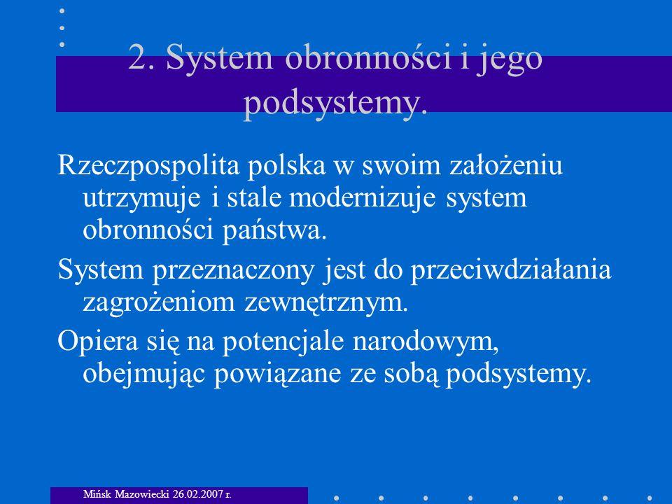 2. System obronności i jego podsystemy.