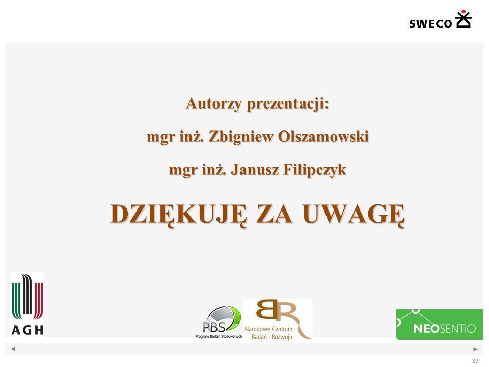 mgr inż. Zbigniew Olszamowski mgr inż. Janusz Filipczyk