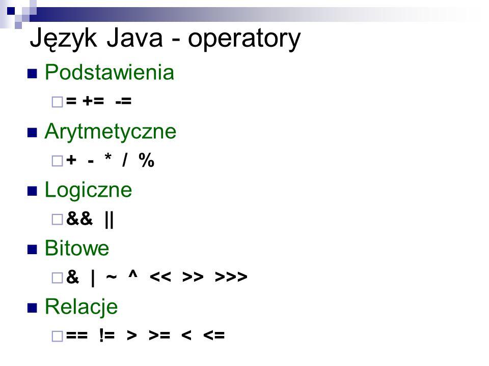 Język Java - operatory Podstawienia Arytmetyczne Logiczne Bitowe