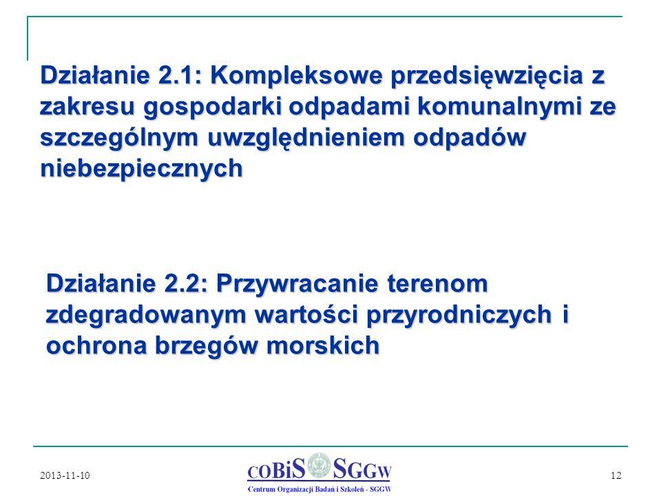 Działanie 2.1: Kompleksowe przedsięwzięcia z zakresu gospodarki odpadami komunalnymi ze szczególnym uwzględnieniem odpadów niebezpiecznych