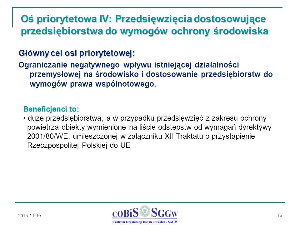Oś priorytetowa IV: Przedsięwzięcia dostosowujące przedsiębiorstwa do wymogów ochrony środowiska