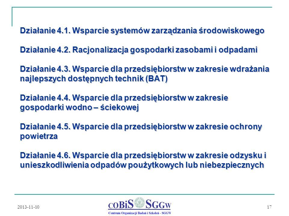Działanie 4.1. Wsparcie systemów zarządzania środowiskowego Działanie 4.2. Racjonalizacja gospodarki zasobami i odpadami Działanie 4.3. Wsparcie dla przedsiębiorstw w zakresie wdrażania najlepszych dostępnych technik (BAT) Działanie 4.4. Wsparcie dla przedsiębiorstw w zakresie gospodarki wodno – ściekowej Działanie 4.5. Wsparcie dla przedsiębiorstw w zakresie ochrony powietrza Działanie 4.6. Wsparcie dla przedsiębiorstw w zakresie odzysku i unieszkodliwienia odpadów poużytkowych lub niebezpiecznych