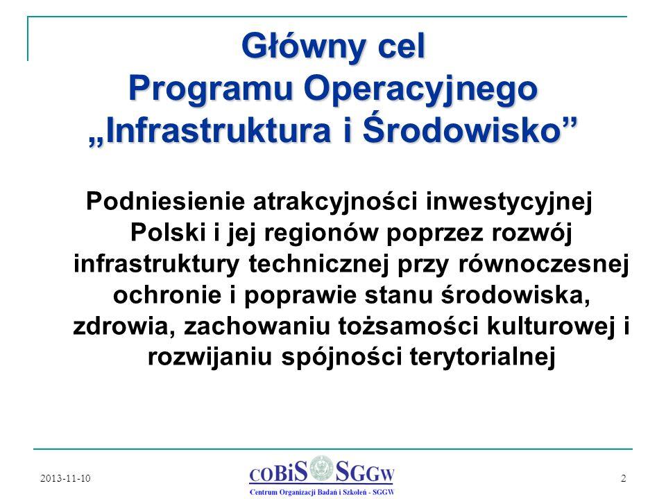 """Główny cel Programu Operacyjnego """"Infrastruktura i Środowisko"""