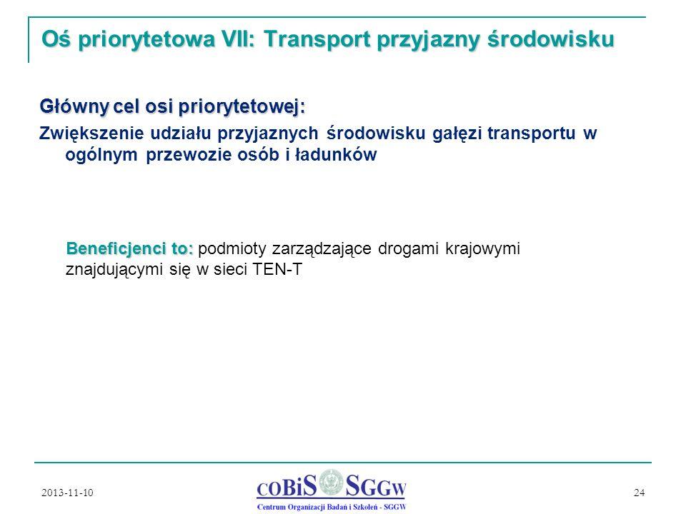 Oś priorytetowa VII: Transport przyjazny środowisku