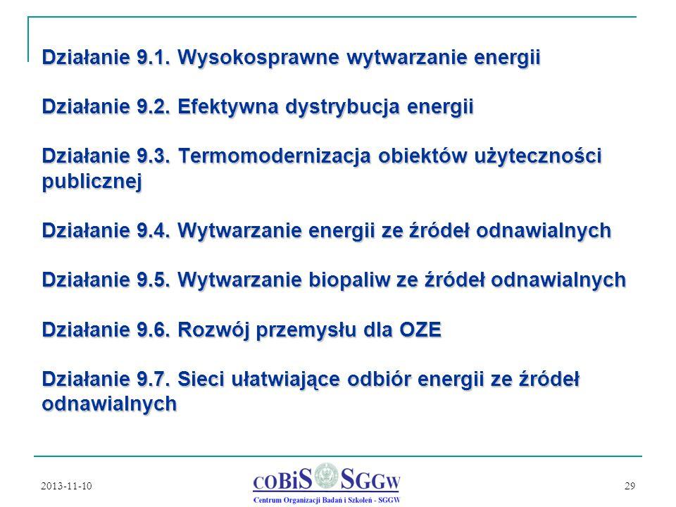 Działanie 9. 1. Wysokosprawne wytwarzanie energii Działanie 9. 2