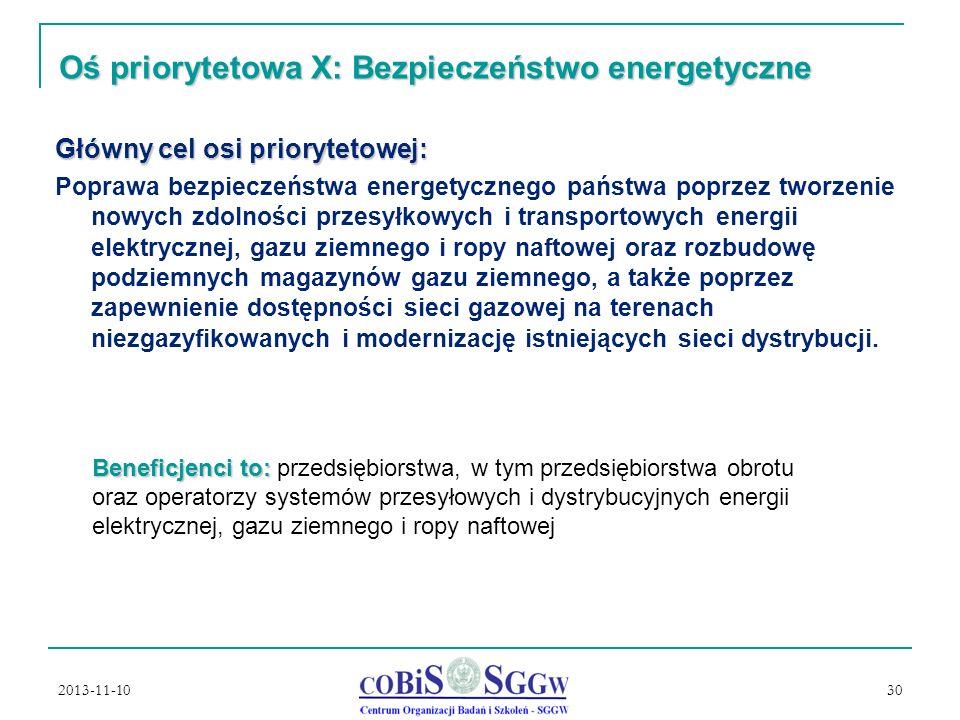 Oś priorytetowa X: Bezpieczeństwo energetyczne