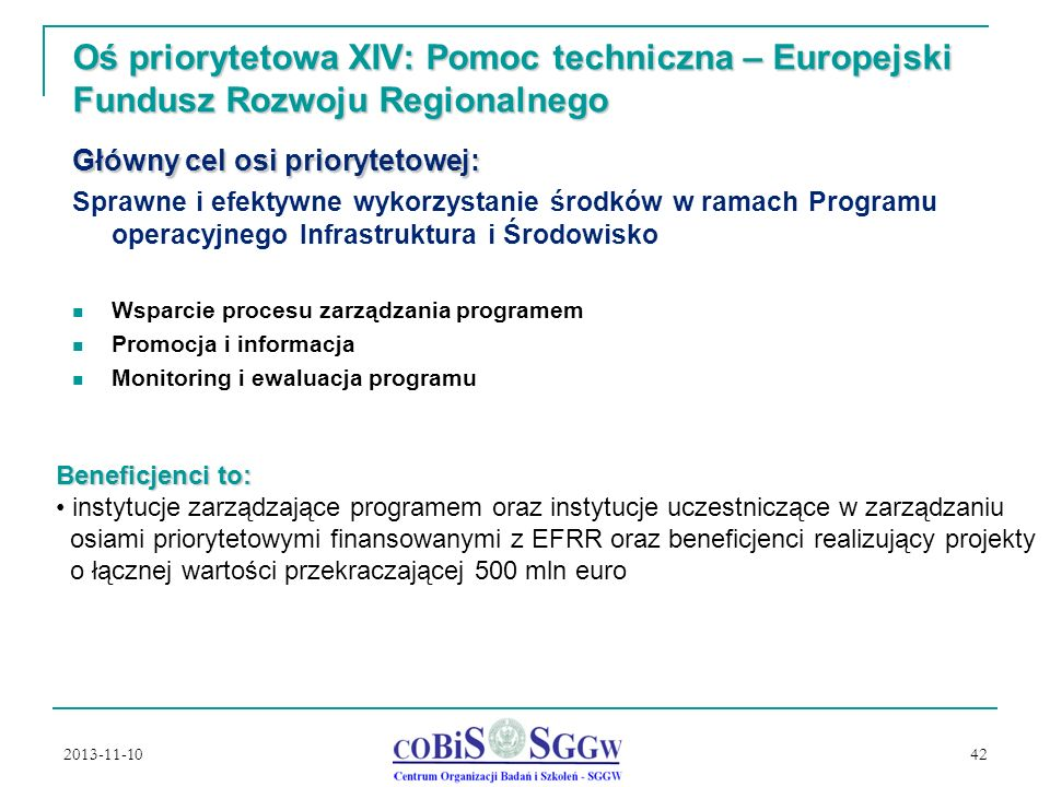 Oś priorytetowa XIV: Pomoc techniczna – Europejski Fundusz Rozwoju Regionalnego