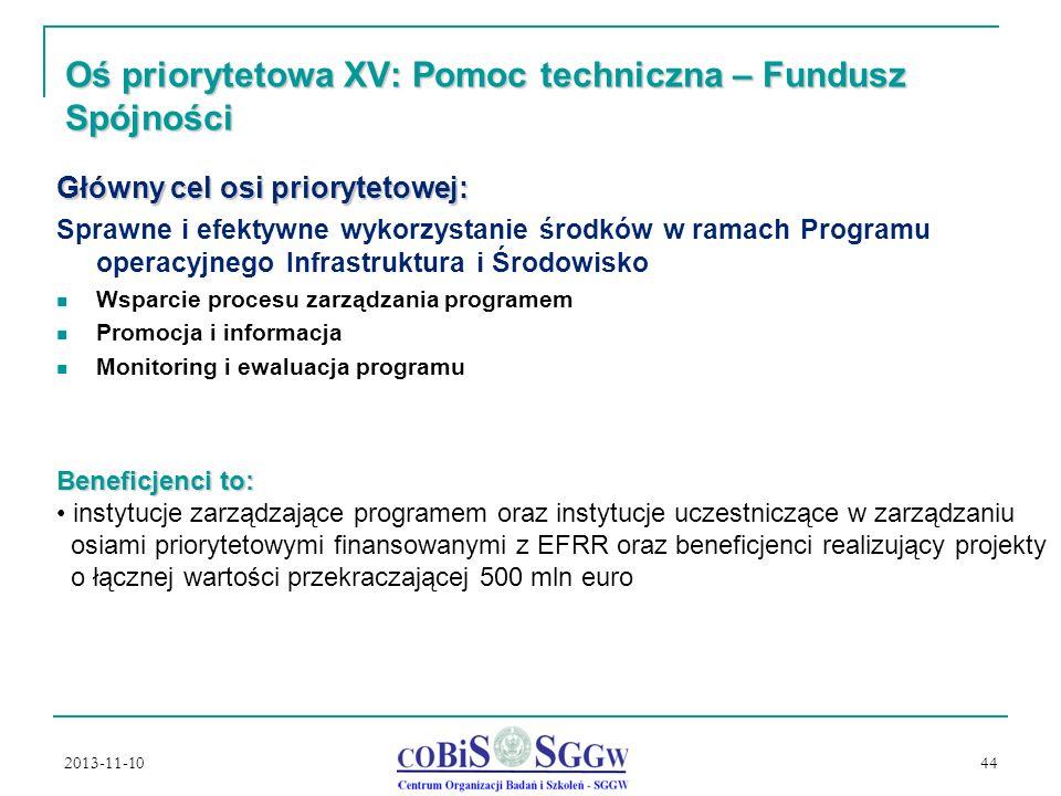 Oś priorytetowa XV: Pomoc techniczna – Fundusz Spójności