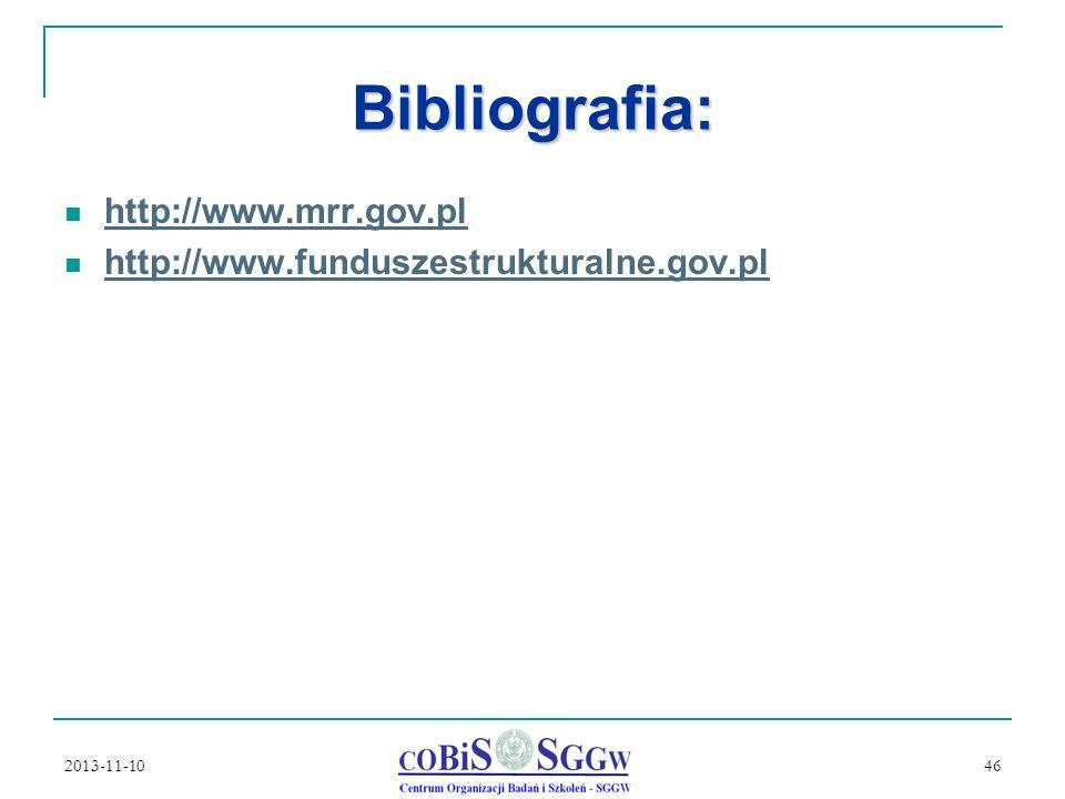 Bibliografia: http://www.mrr.gov.pl