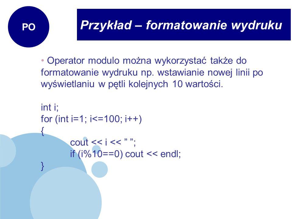 Przykład – formatowanie wydruku