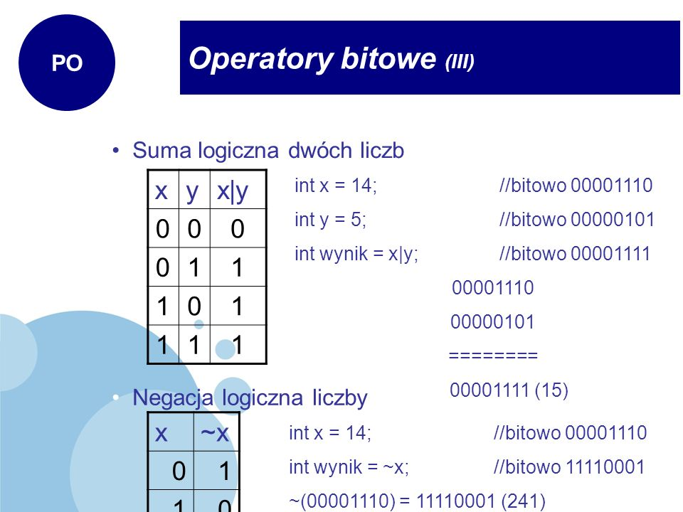 Operatory bitowe (III)