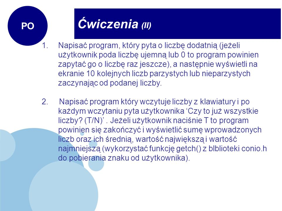 PO Ćwiczenia (II)