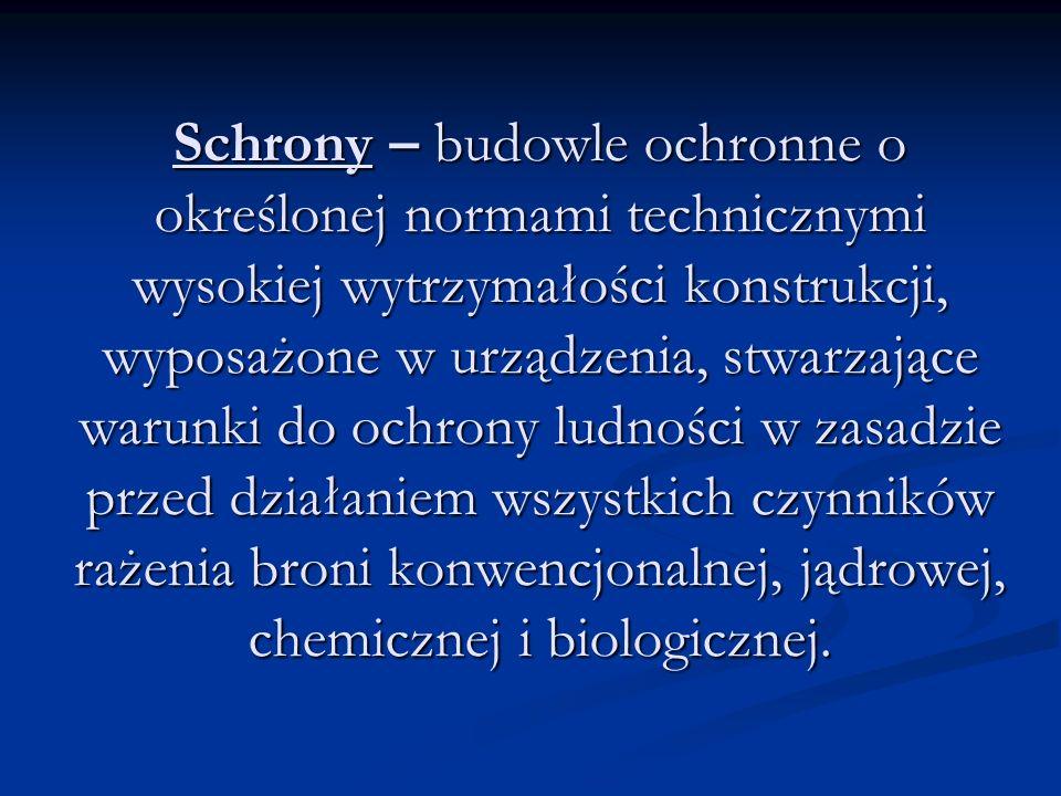 Schrony – budowle ochronne o określonej normami technicznymi wysokiej wytrzymałości konstrukcji, wyposażone w urządzenia, stwarzające warunki do ochrony ludności w zasadzie przed działaniem wszystkich czynników rażenia broni konwencjonalnej, jądrowej, chemicznej i biologicznej.