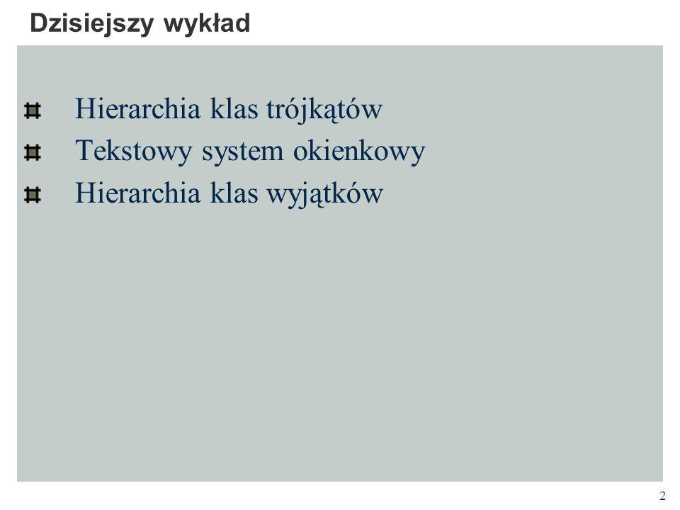 Hierarchia klas trójkątów Tekstowy system okienkowy