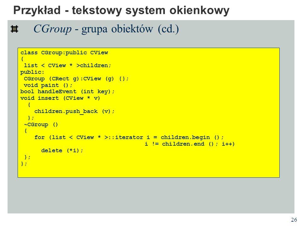Przykład - tekstowy system okienkowy
