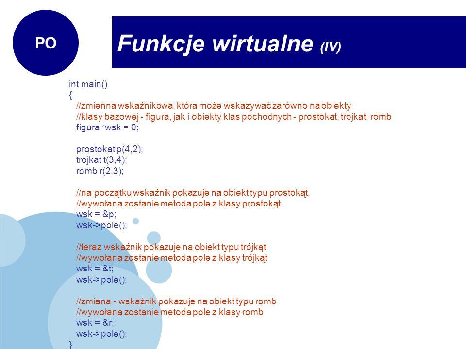 Funkcje wirtualne (IV)