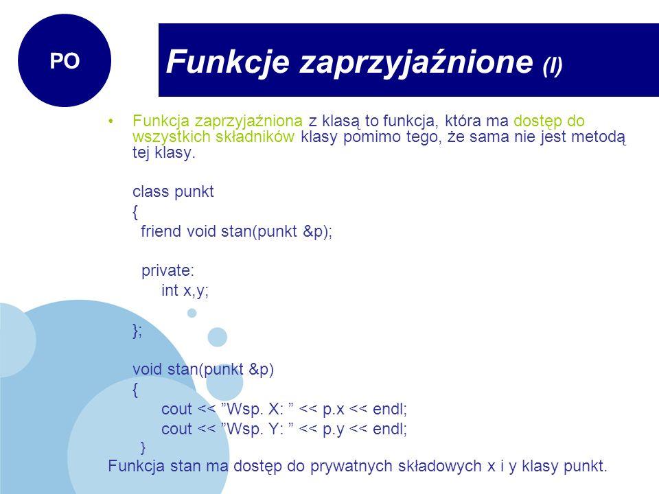 Funkcje zaprzyjaźnione (I)