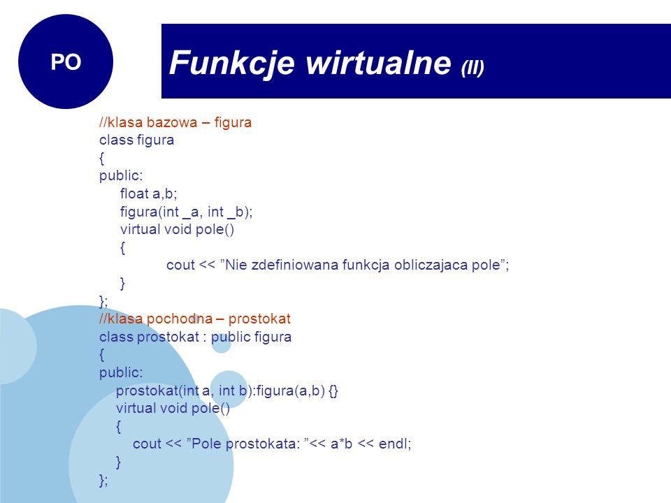 Funkcje wirtualne (II)