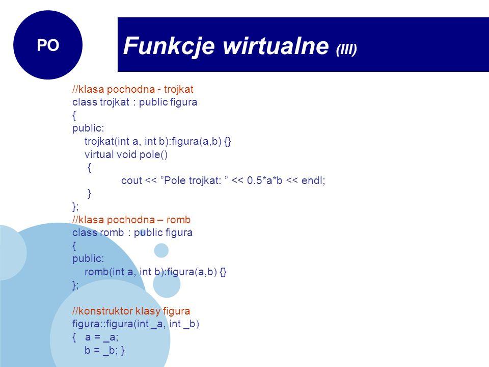 Funkcje wirtualne (III)