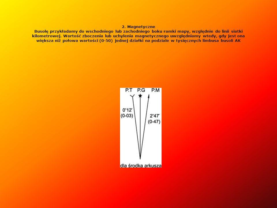 2. Magnetyczne Busolę przykładamy do wschodniego lub zachodniego boku ramki mapy, względnie do linii siatki kilometrowej. Wartość zboczenia lub uchylenia magnetycznego uwzględniamy wtedy, gdy jest ona większa niż połowa wartości (0-50) jednej działki na podziale w tysięcznych limbusa busoli AK