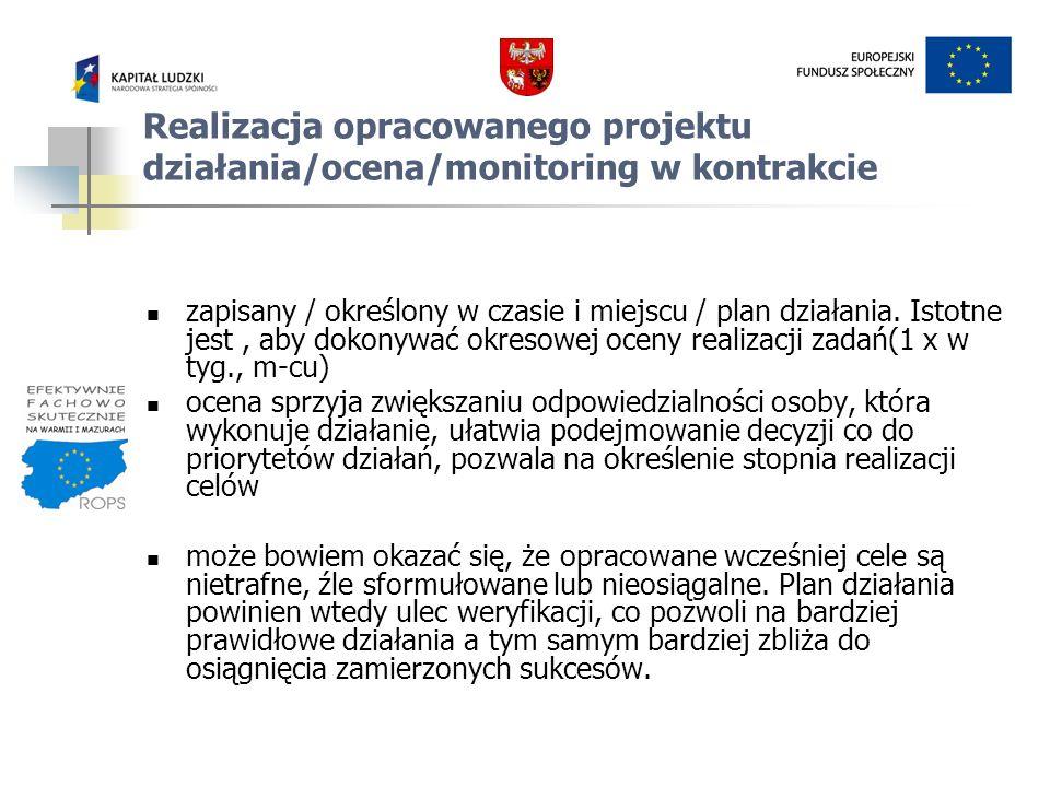 Realizacja opracowanego projektu działania/ocena/monitoring w kontrakcie