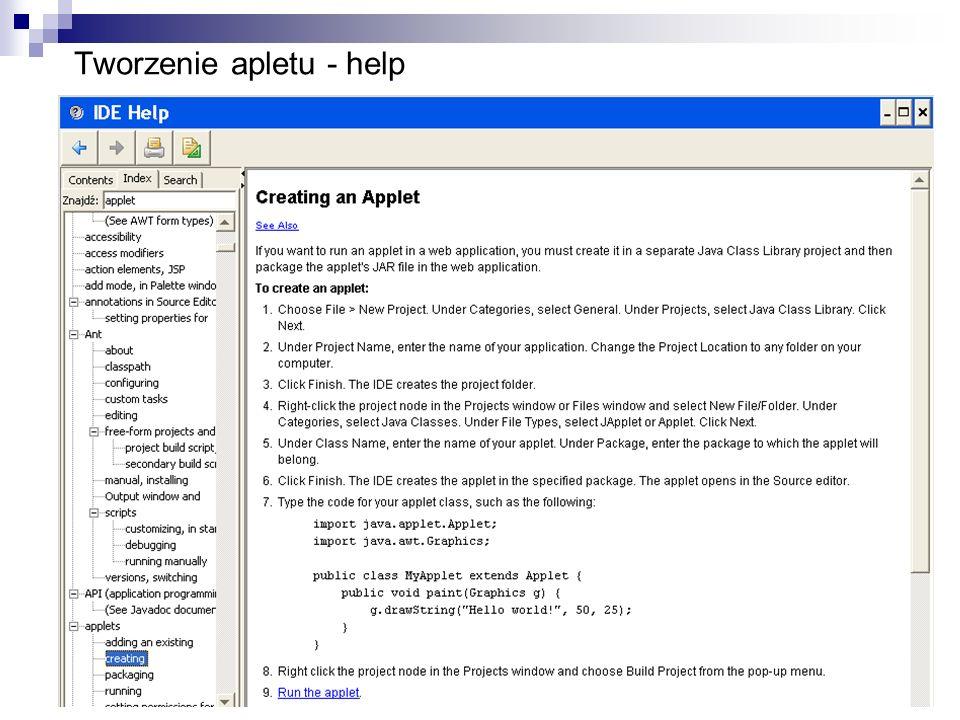Tworzenie apletu - help