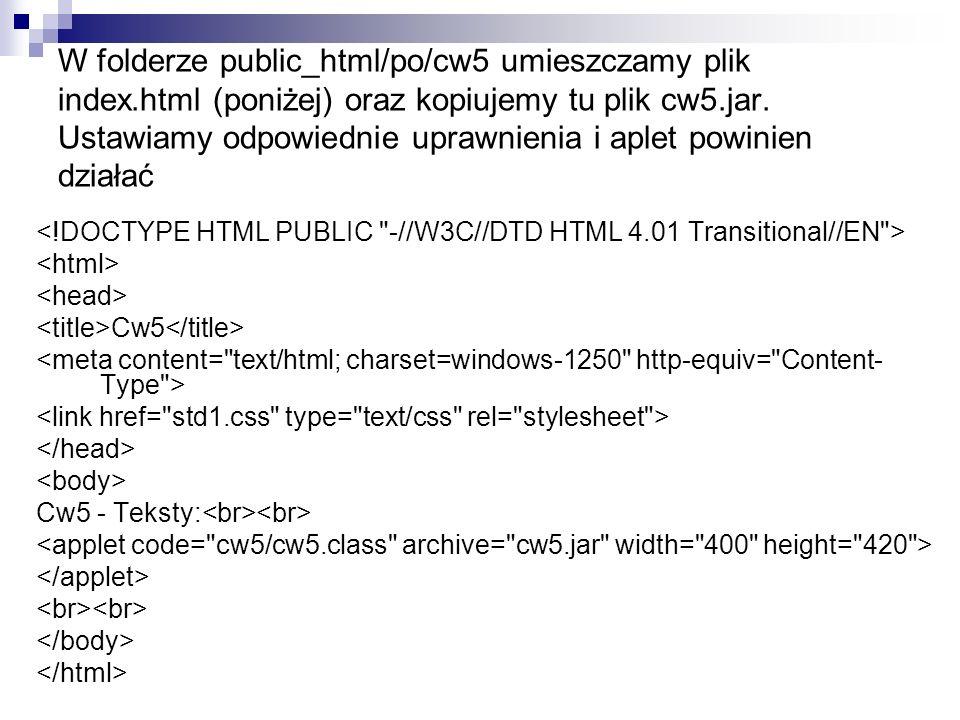 W folderze public_html/po/cw5 umieszczamy plik index