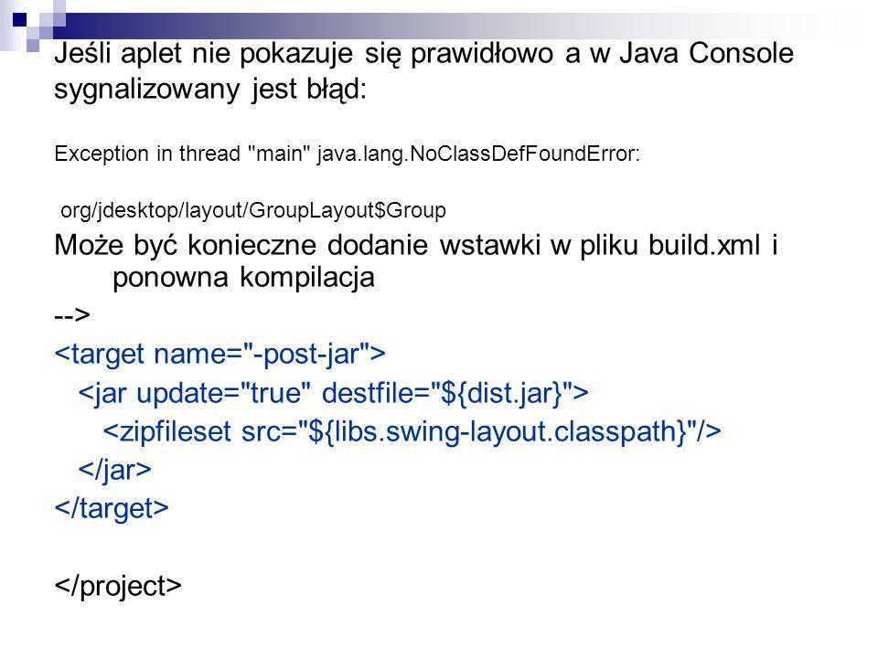 Jeśli aplet nie pokazuje się prawidłowo a w Java Console sygnalizowany jest błąd: Exception in thread main java.lang.NoClassDefFoundError: org/jdesktop/layout/GroupLayout$Group