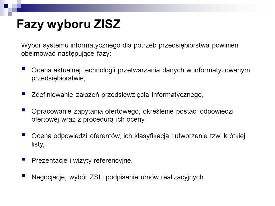 Fazy wyboru ZISZ Wybór systemu informatycznego dla potrzeb przedsiębiorstwa powinien. obejmować następujące fazy: