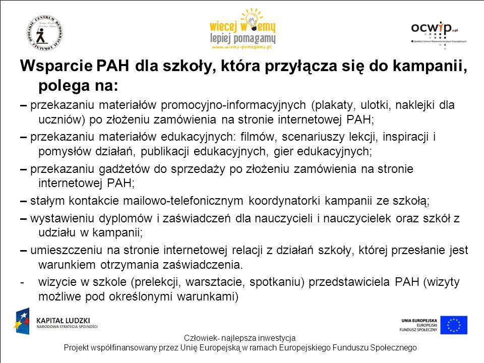 Wsparcie PAH dla szkoły, która przyłącza się do kampanii, polega na: