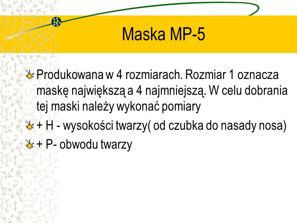 Maska MP-5Produkowana w 4 rozmiarach. Rozmiar 1 oznacza maskę największą a 4 najmniejszą. W celu dobrania tej maski należy wykonać pomiary.