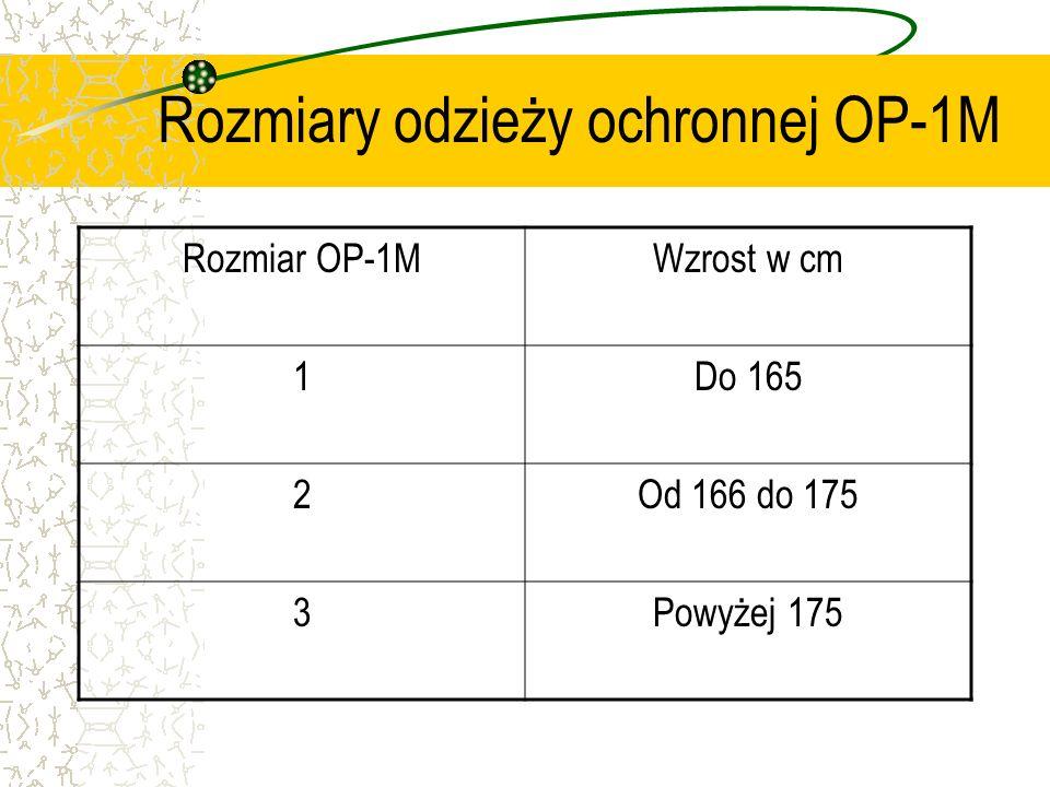 Rozmiary odzieży ochronnej OP-1M