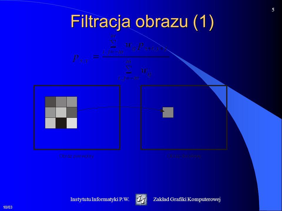 Filtracja obrazu (1) Instytutu Informatyki P.W.