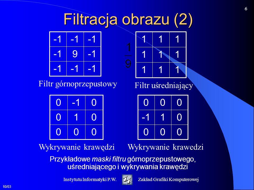 Filtracja obrazu (2) -1 9 1 1 -1 1 -1 Filtr górnoprzepustowy