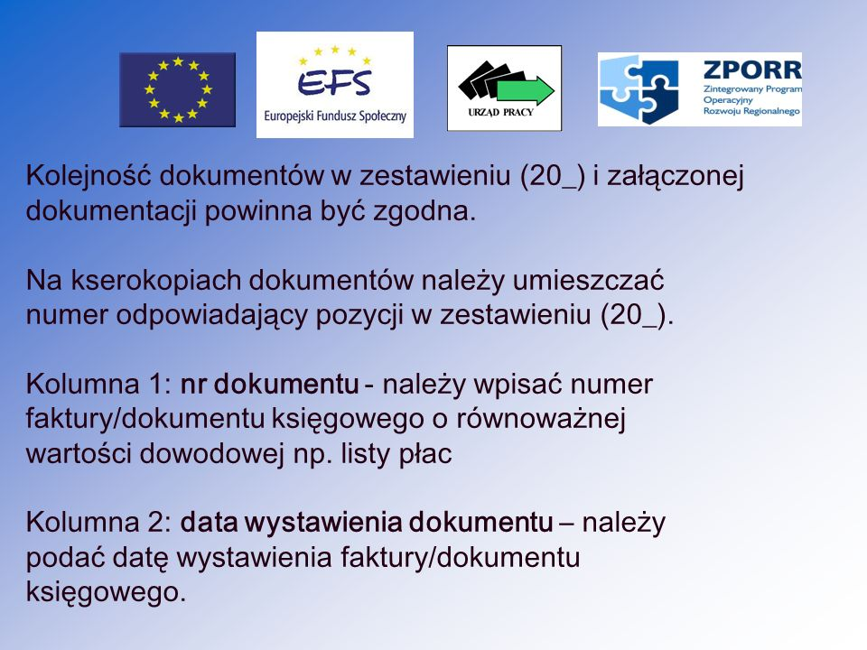 Kolejność dokumentów w zestawieniu (20_) i załączonej