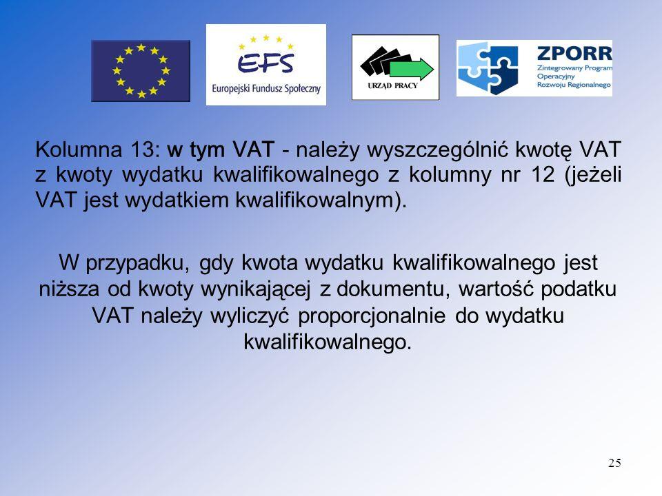 Kolumna 13: w tym VAT - należy wyszczególnić kwotę VAT z kwoty wydatku kwalifikowalnego z kolumny nr 12 (jeżeli VAT jest wydatkiem kwalifikowalnym).