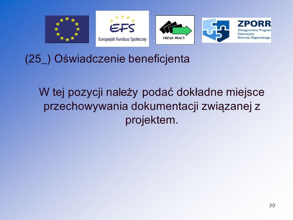 (25_) Oświadczenie beneficjenta