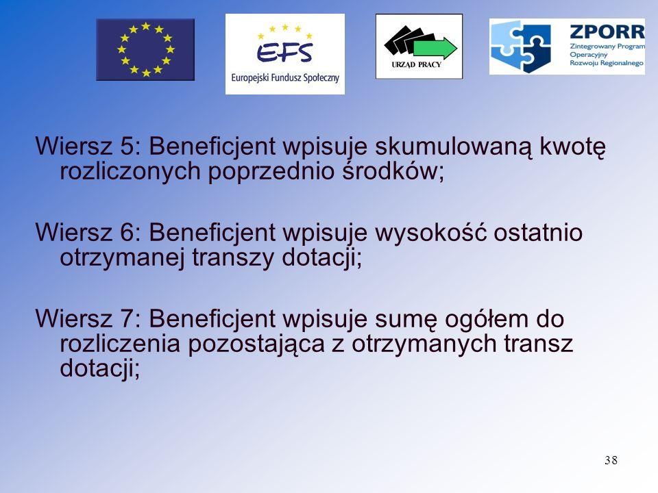 Wiersz 5: Beneficjent wpisuje skumulowaną kwotę rozliczonych poprzednio środków;