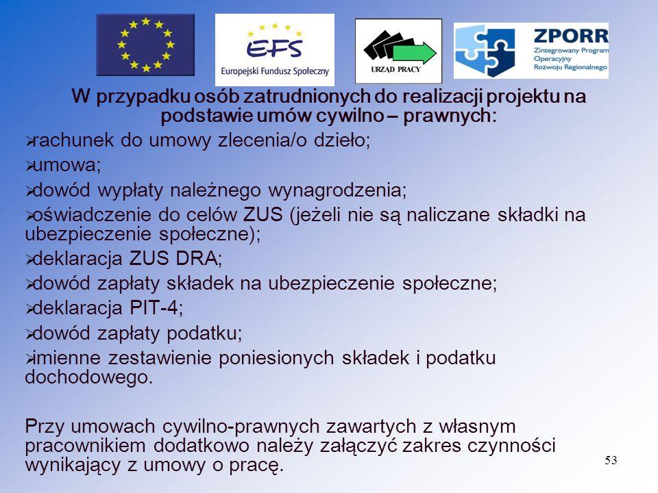 W przypadku osób zatrudnionych do realizacji projektu na podstawie umów cywilno – prawnych: