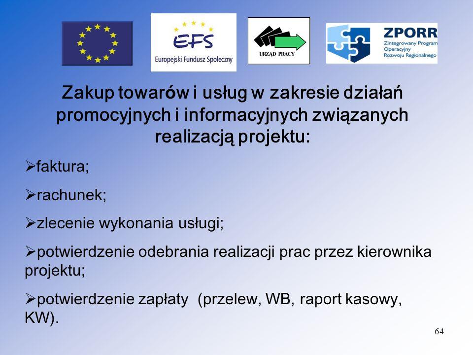 Zakup towarów i usług w zakresie działań promocyjnych i informacyjnych związanych realizacją projektu: