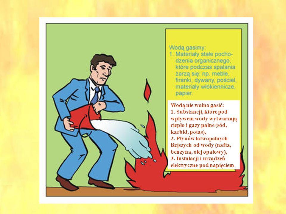 Wodą nie wolno gasić:1. Substancji, które pod wpływem wody wytwarzają ciepło i gazy palne (sód, karbid, potas),