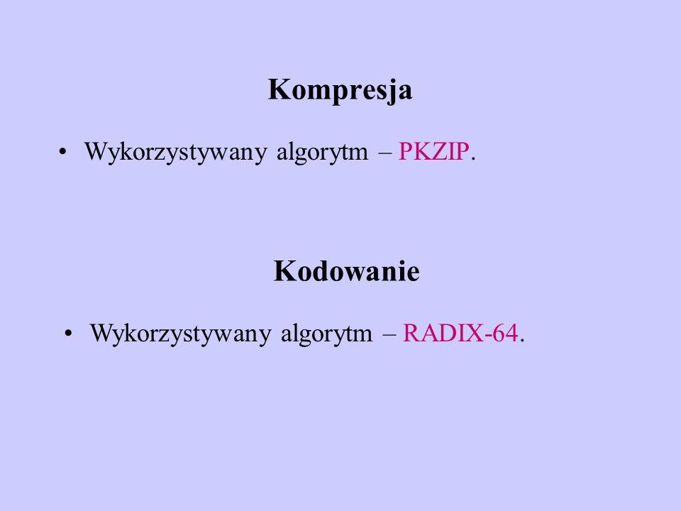 Kompresja Kodowanie Wykorzystywany algorytm – PKZIP.