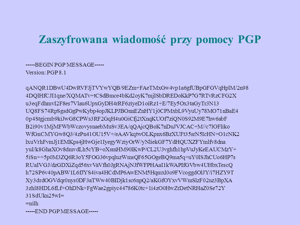 Zaszyfrowana wiadomość przy pomocy PGP